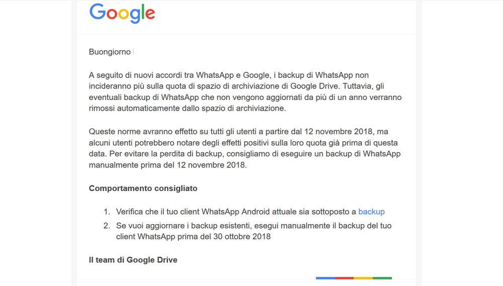 backup di WhatsApp su Android