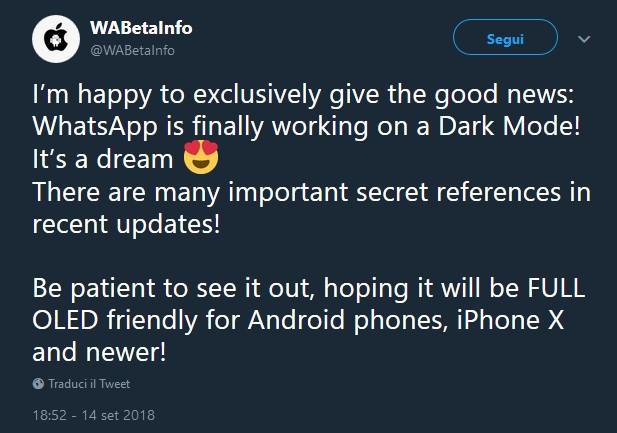 dark mode di WhatsApp